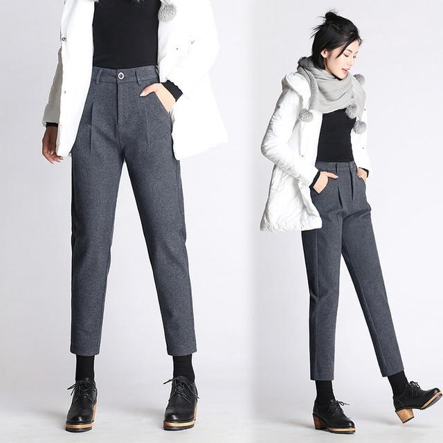 205068d34fc0 1439.55 руб. 10% СКИДКА|2019 Осенние новые женские шерстяные брюки женские  большие ...