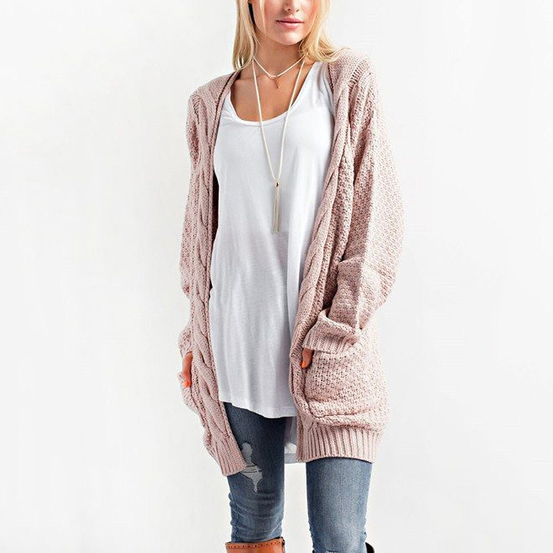 2019 New Women Cardigan  Autumn  Winter Casual Loose Pockets Pink Sweater Women Top Plus Size Casaco Feminino Clothes BLD1150