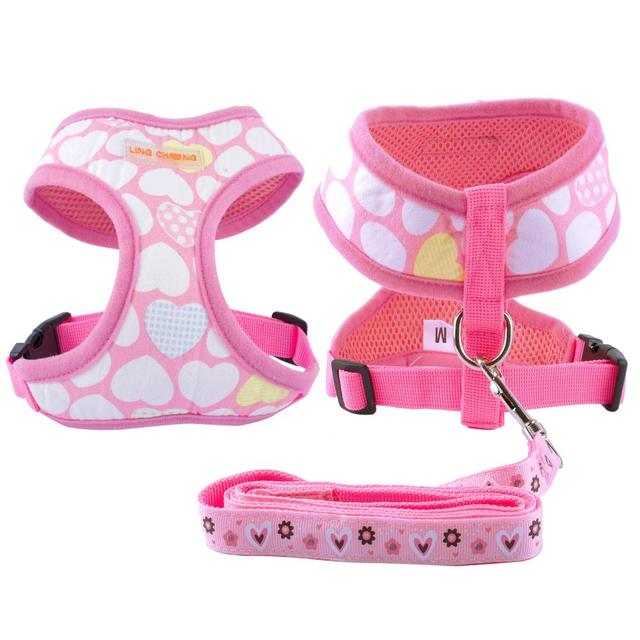 Cute Pattern Puppy Cat Pet Small  Dog Harness Vest  & Leash Set For Chihuhua S/M/L/XL