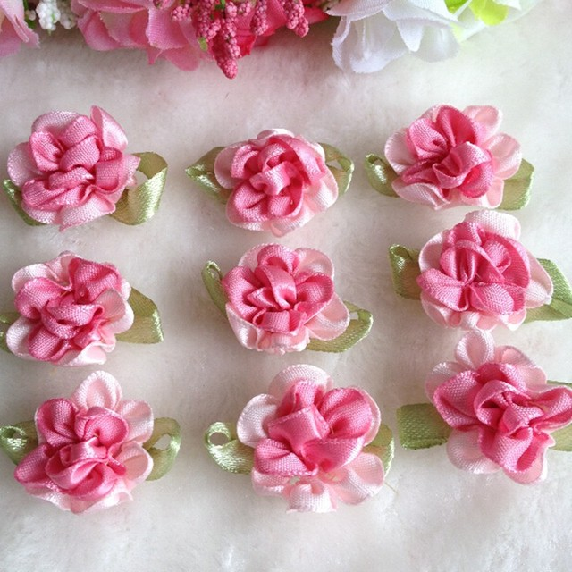 Hl 30pcs pink color ribbon flowers with leaf handmade flowers hl 30pcs pink color ribbon flowers with leaf handmade flowers apparel sewing appliques diy accessories a579 mightylinksfo
