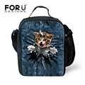 FORUDESIGNS Cute Cat Lunch Bag Animal Kids Lunch Box for School Food Bags With Zipper Bag Bento Lunch Pouch Insulation Bag