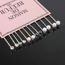 Simple 2Pcs/Pair Rhinestone Pearl Metal Gold Rhodium Color Hair Clip Bobby Pin Barrette Hairpin for women girls Hair Accessories