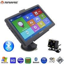 TOPSOURCE 7 Pulgadas HD de Coches de Navegación GPS 256 MB/8 GB Windows CE 6.0 Pantalla Capacitiva GPS Navigator Retrovisor Cámara sat nav Envío mapa