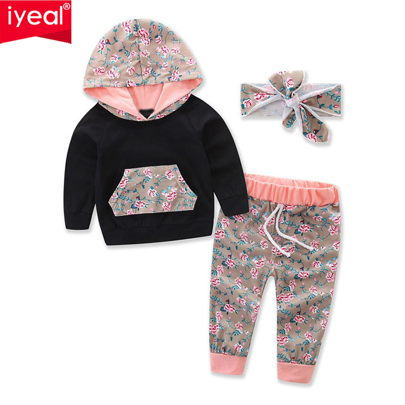 IYEAL New Infant Baby Girls Clothes Set Long Sleeve Hooded Sweatshirt Tops+Floral Pants Outfits Set Tracksuit for 0-24M floral baby girls clothes long sleeve sweatshirt pants outfits 2pcs hooded clothes set