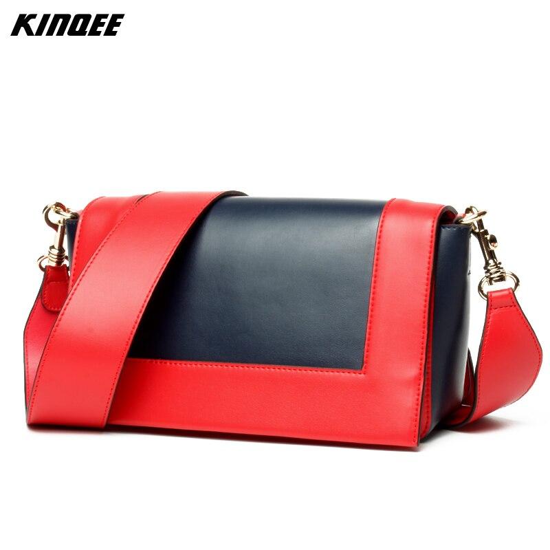 2017 New Versatile Messenger Shoulder Bag Genuine Leather Two Straps Colors Patchwork Cow Flap Women Ladies Luxury Designer