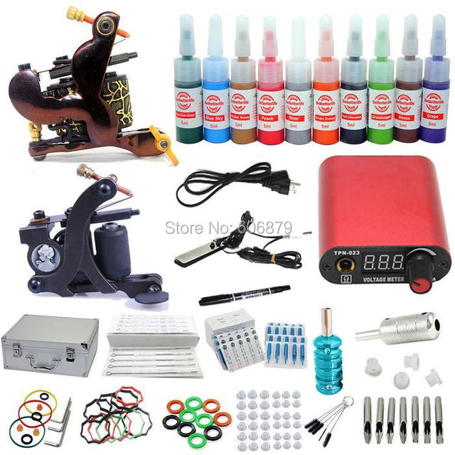 Pro Complete Tattoo Kits 2 Machine Guns 10 Inks Colors LCD Power Supply Grips Tip Sets Equipment Supplies(USA warehouse)K002