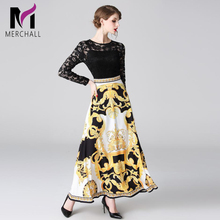 Merchall Spring Summer Runway Elegant Party Long Dress Womens Sexy Black Lace Patchwork Yellow Printed Maxi Vestdios