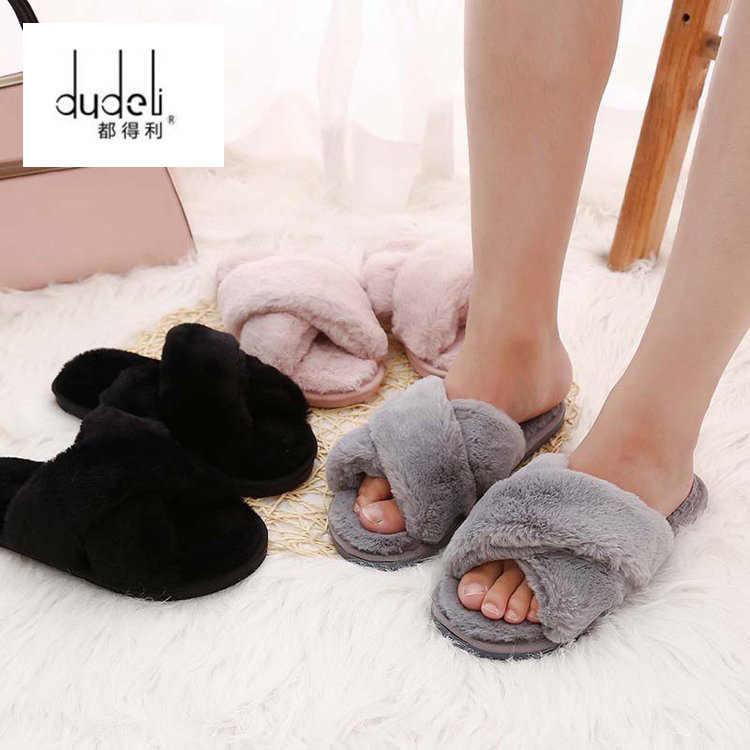 DUDELI invierno mujeres inicio zapatillas con piel sintética moda caliente zapatos mujer Slip on Flats mujer Slides negro rosa más tamaño 41