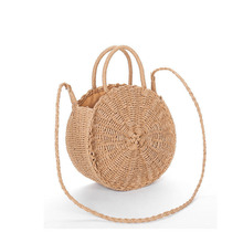 beach bag round straw totes bag bucket summer bags with tassels pom pom pompon women natural basket handbag high quality