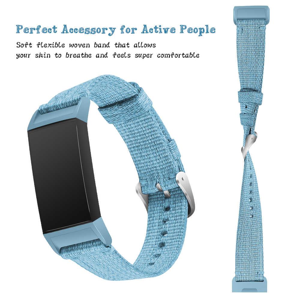 f29ff952ad7e Fitbit Charge 3 Charge3 pulsera inteligente de repuesto correa de reloj de  lona de nailon Denim hombres mujeres Smartwatch Band