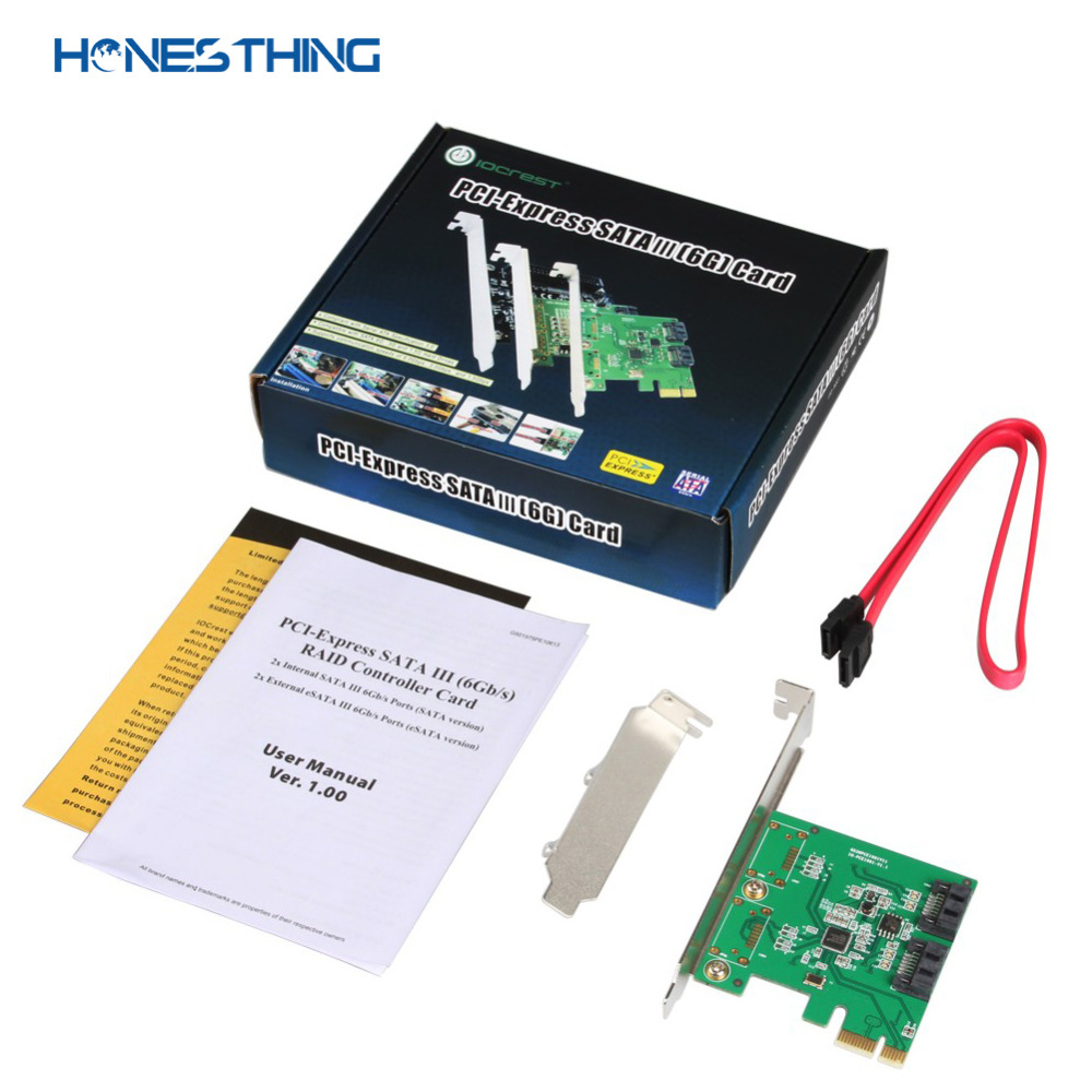 HonesThing SATA III 2 Ports Controller Card PCI-Express 2.0 x1 RAID Card for ASMedia ASM1061 with Low Profile Bracket 6