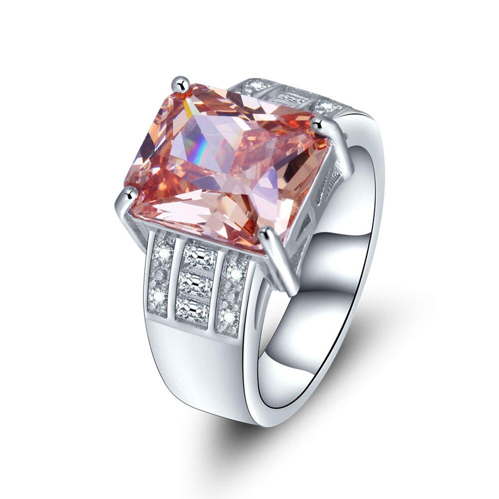 Роскошные Большой площади Champange CZ Кристалл обручальное кольцо для Для женщин Серебряный Цвет Обручение кольцо вечерние аксессуары