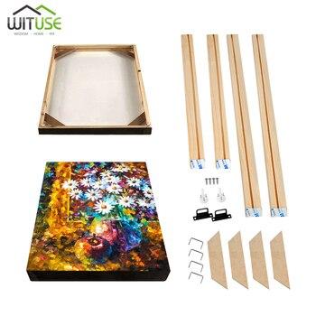 Marco de madera DIY para pintura de lienzo impresión de la imagen de la pared de la foto barras elásticas marco interior Natural sin la pintura de muchos tamaños
