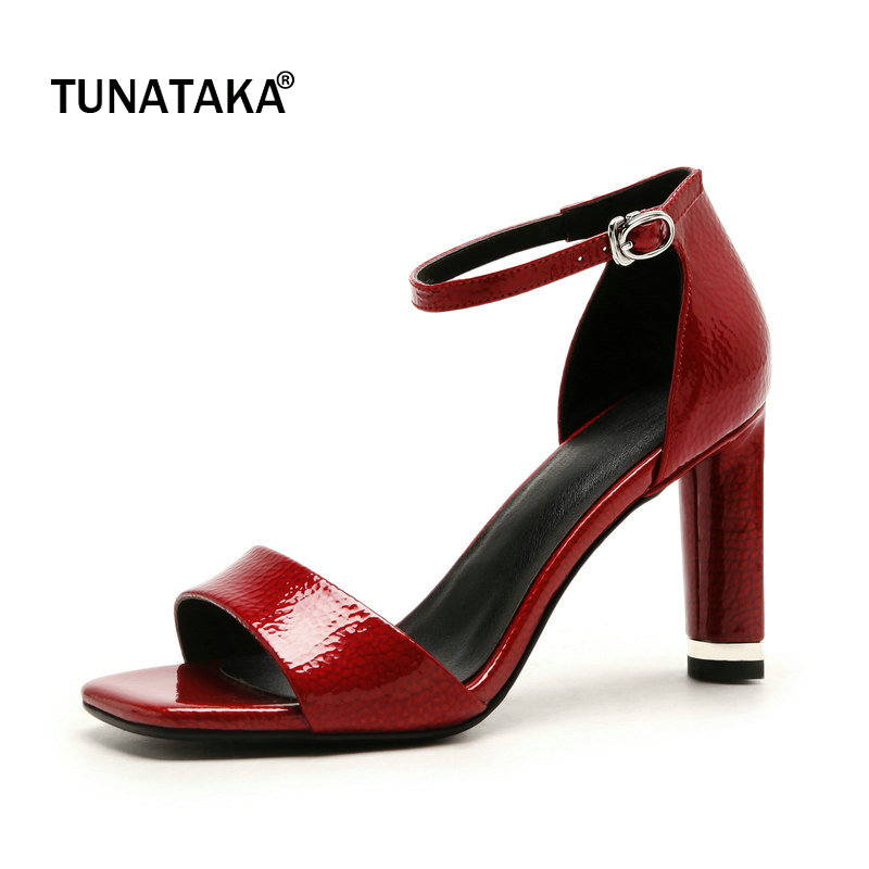 цена на Genuine Leather Square High Heel Open Toe Woman Sandals Fashion Buckle Dress Shoes Woman Red White