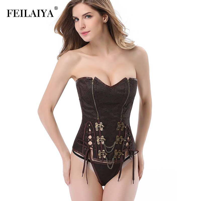 Gothic Corset for Women Steampunk Corset Leather Sexy Corsets Burlesque Goth Corselet G String Steam Punk Bustier Corset Top