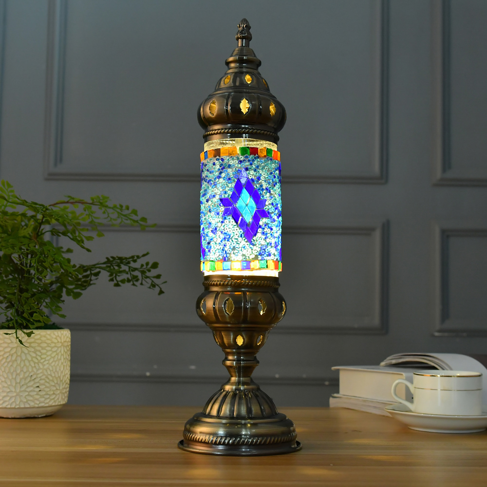 Home Vintage Beautifully Mediterranean Turkish Glass Mosaic Craft Lamp Table Lamps Decorative Lights For Bedroom Restaurant turkish mosaic lamps blue crystal glass led lights hand blown murano glass chandelier lighting