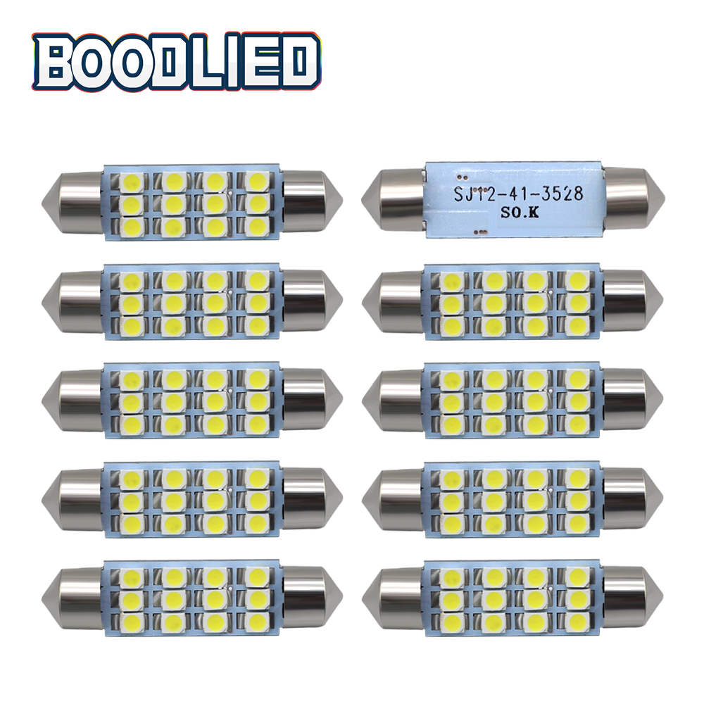 Electric Vehicle Parts 10x 3528 12 Smd Led Auto Car Interior Festoon Dome Bulbs Lamp Light Dc 12v 41mm Atv,rv,boat & Other Vehicle