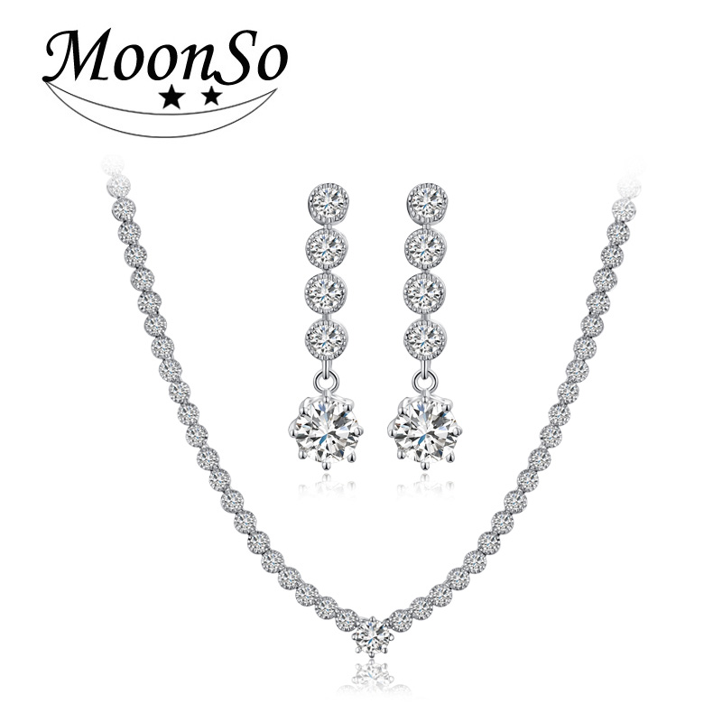 Moonso 925 Sterling Silver Jewelry for women wedding Stud Earrings and Necklace african J1050 jjh chic rhinestone african plate shape pendant necklace and earrings for women