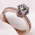 Profissional por atacado Das Mulheres De Luxo Jóias Solitaire 925 Sterling Silver CZ Diamante Rosa Banhado A Ouro Anel de Casamento SZ4-11