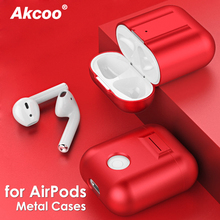 Akcoo Metal Case for AirPods 1 2 Cover Shockproof with Silicone lanyard  free gift Charging ultra lightweight