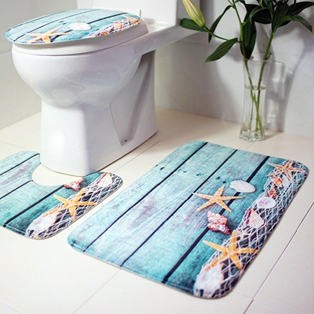3 pz Tappetini Da Bagno Oceano Mondo Subacqueo Anti Slip da Bagno Mat Set di Corallo del panno morbido del Pavimento Tappetini Da Bagno Lavabile Bagno Wc tappeti