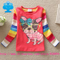 Flags 2016 new kid t-shirt baby girl roupa infantil long sleeve cute cartoon t shirt child clothes wear top lace style T2603#