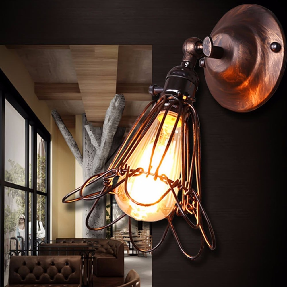 все цены на Industrial Edison Vintage Wall Lamp Light Mounted Wrought Chandelier Iron Rustic Wire Cage Hanging Wall Lamp Light онлайн