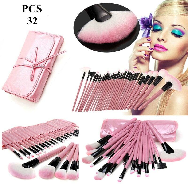 New Professional 32 pcs Makeup Brush Set Make-up Toiletry Kit Wool Brand Make Up Brush Set + Leather Case тушь make up factory make up factory ma120lwhdr04