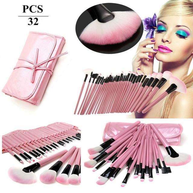 New Professional 32 pcs Maquiagem Escova Make-up Kit de Higiene Pessoal Lã Marca Make Up Brush Set + bolsa em Couro caso