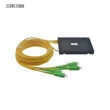 ZHWCOMM SC APC PLC 1X4 tryb pojedynczy światłowodowy rozdzielacz FTTH łącznik optyczny rozdzielacz