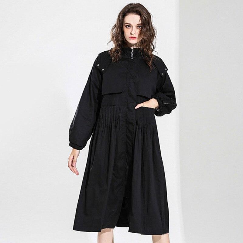 LANMREM 2019 Spring New Fashion Black Zipper Full Sleeve Hooded Women's Overcoat Personality High Quality   Trench   Vestido YF72901
