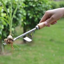 Садовая вилка с деревянной Раздвоенной головкой, ручной съемник, ручка для патио, садовая лопата против сорняков, садовые инструменты для обрезки двора, Прямая поставка