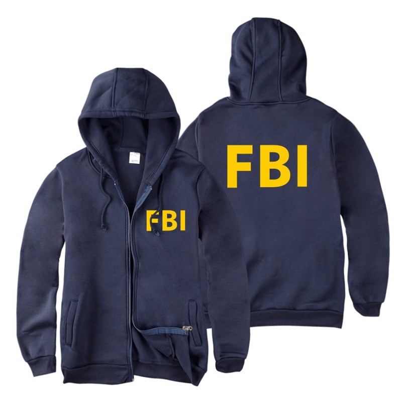 Hoodies Sweatshirts Coat Long-Sleeve Zip-Up Hip-Hop Fbi-Print Zipper Men Sport Unisex