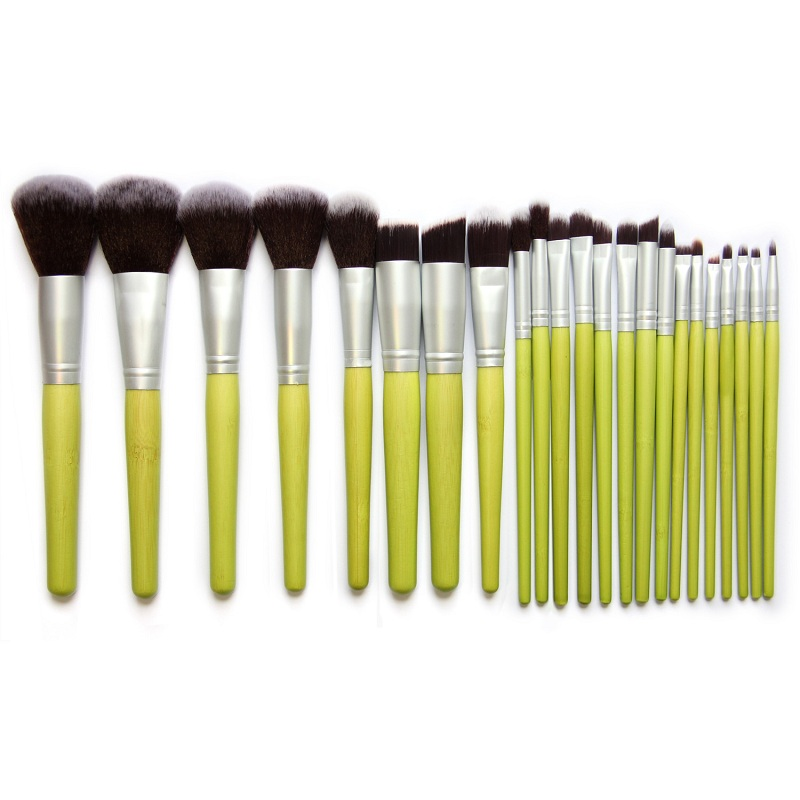 23pcs/set Pro Makeup Brushes Set Foundation Blending Powder Eyeshadow Contour Concealer Blush eyebrow brush green bamboo handle 11pcs pro bamboo makeup brushes set blending eyeshadow foundation blush concealer brush facial beauty tool with sponge puff