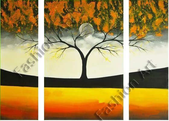 tree of life Hand-painted Artwork  High Quality Landscape Group Decorative Oil Painting on Canvas 3pcs/set Mixorder FA03PT2023