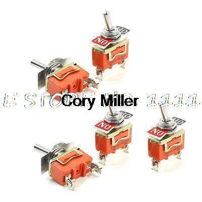 5pcs SPST ON-OFF 2 Position 2 Screw Terminals Toggle Switch AC 250V 15A