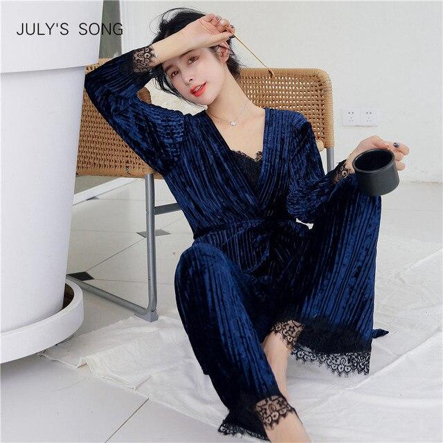 JULY'S BÀI HÁT Vàng Nhung Bộ Đồ Ngủ Gợi Cảm Nữ Thu Đông Ấm Bộ Đồ Ngủ Bộ Nữ Đồ Ngủ Áo Dây Váy Ngủ Áo Choàng