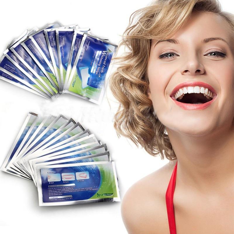 14 пакеты Отбеливание зубов полосы Профессиональный Отбеливание зубов продукты Гелевые полоски отбелить зубы Инструменты Para blanquear Лос dientes