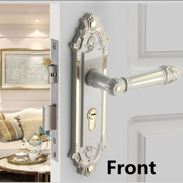 European Retro Fashion Ivory White Interior Door Lock Gold White Bedroom  Kitchen Bathroom Solid Wood Door