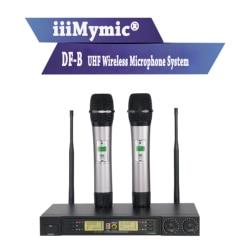 iiiMymic DF-B 200 Channel UHF Wireless Microphone System with Sound Effect 2 Metal Handheld Microphone for KTV Karaoke DJ