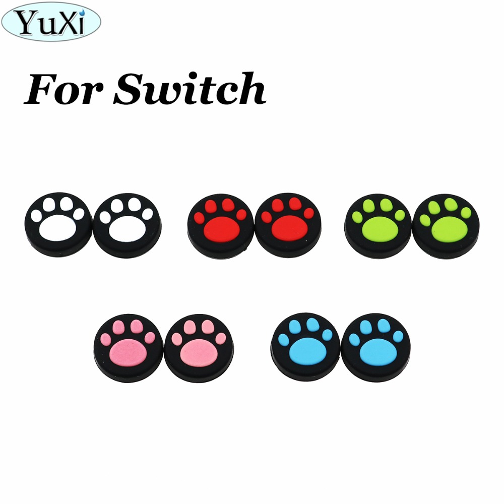 YuXi 2PCS Cat Paw Claw Silicone Analog Thumb Grips Cover For Nintend Switch NS Joy Con Stick Caps Skin For Joy-Con Joystick