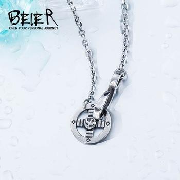 491ac2bdf8f3 Beier estilo simple 5mm collar de acero inoxidable nuevo estilo boy hombre  collar colgante para hombre