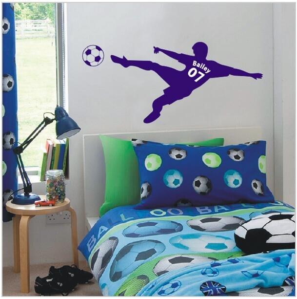 voetbal voetbal gepersonaliseerde naam en nummer muur sticker vinyl kunst aan de muur poster kinderen muursticker kinderen room decor d607 2