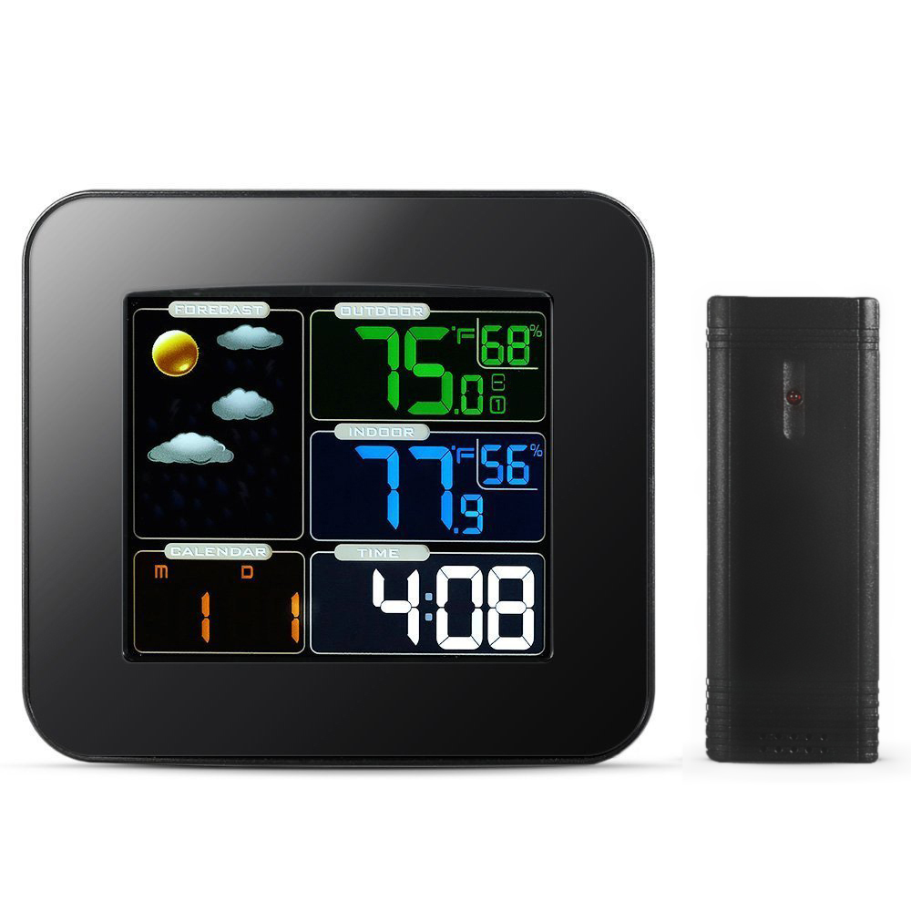 Multifunctional Wireless Weather Station Colorful LCD Screen Temperature Monitor Wireless Digital Indoor Outdoor Wireless Sensor