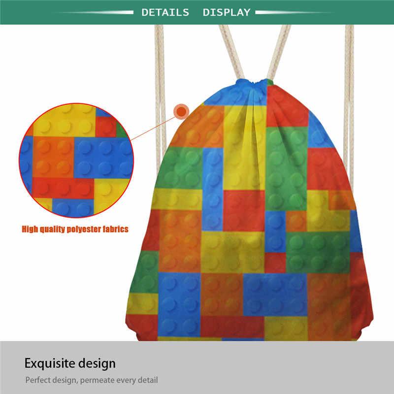 Coloranimal Cool Dinasour impresión niños bolsa con cordón para niños hombre Casual Softback portátil String hombro bolsa hombre gimnasio saco bolsa
