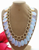 18'' 18*25 Water Drop top drilled Faceted White Opal Crystal Yellow Golden Chain Pendant Necklace