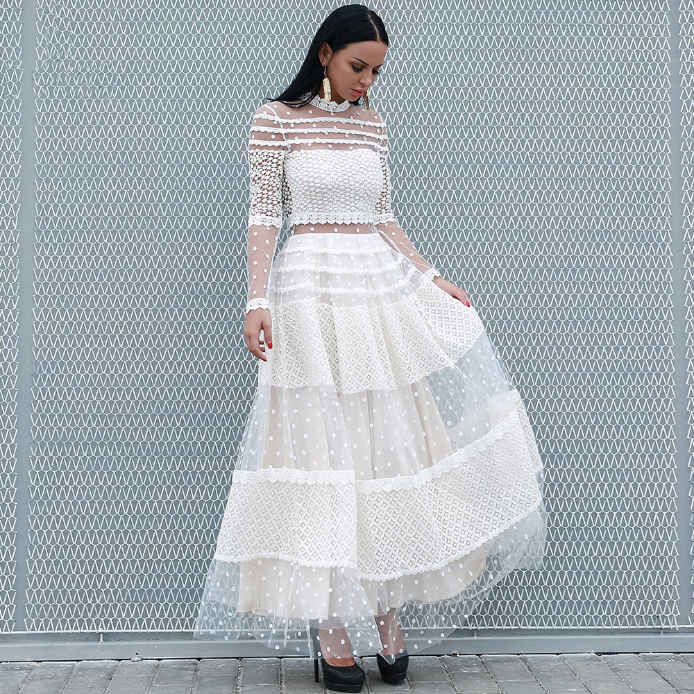 305449ff44994 European Sexy Women Perspective Long Sleeve Mesh Lace Patchwork White Dot  Pleated Long Dress 2019 Vaction