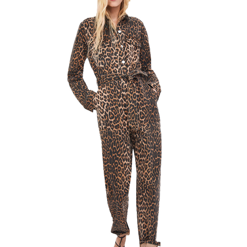 2018 winter jumpsuit women casual thicken twill womens clothing long sleeve bodysuit women leopard rompers womens jumpsuit