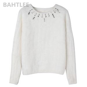 Image 5 - BAHTLEE Autumn Winter Women Angora Jumper Long Sleeve Knitted Stripes Pullovers Sweater Keep Warm Handwork Diamond White