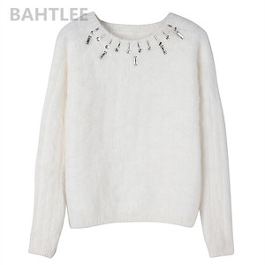 Image 5 - BAHTLEE automne hiver femmes Angora pull à manches longues tricoté rayures pulls pull garder au chaud travail manuel diamant blanc